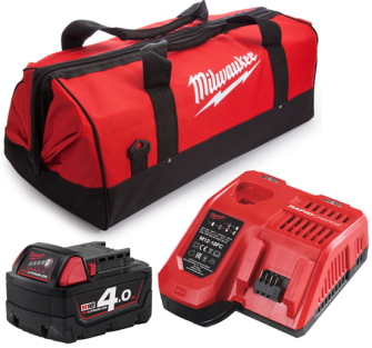 Milwaukee M18NRG-401B Battery + Charger and Bag Kit - 1 X 4.0Ah B