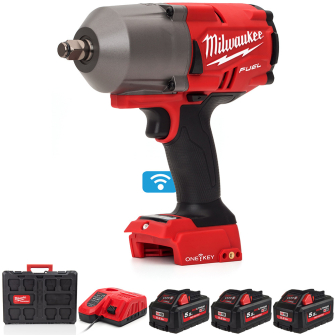 Milwaukee M18ONEFHIWF12-553P 18V Impact Wrench Kit with 3 X 5.5Ah Batteries