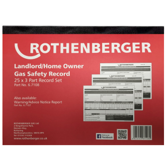 Rothenberger Gas safety certificate record pad (25 x 3 Part)