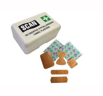 Scan Hydroscopic Fabric Plasters 100 Assorted - Pack of 100