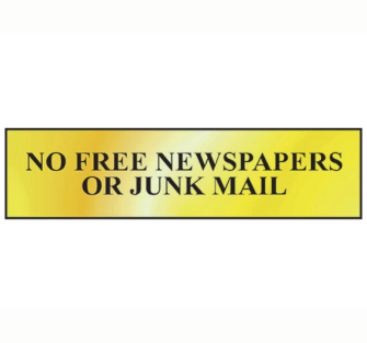 Scan No Free Newspapers Or Junk Mail - Polished Brass Effect 200