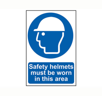 Scan Safety Helmets Must Be Worn in This Area - PVC 200 x 300mm -