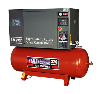 Sealey SSC12710D Screw Compressor 270ltr 10hp 3ph Low Noise with