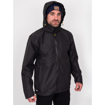 Bisley Workwear Lightweight Ripstop Long Sleeve Hooded Rain Jacket - Black
