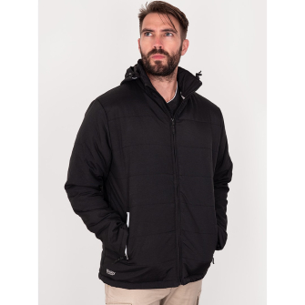 Bisley Workwear Oxford Puffer Jacket With Adjustable Hood - Long Sleeve - Black