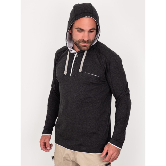 Bisley Workwear Flex & Move Cotton Rich Hooded Tee Long Sleeve - Charcoal Marle