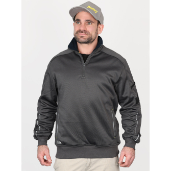 Bisley Workwear Work Fleece 1/4 Zip Front Pullover With Sherpa Lining - Charcoal
