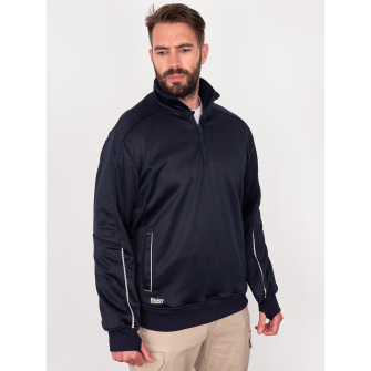 Bisley Workwear Work Fleece 1/4 Zip Front Pullover With Sherpa Lining - Navy