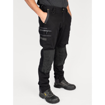 Bisley Workwear Flex & Move Stretch Utility Cargo Trousers With Kevlar Knee Pads - Black