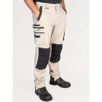 Bisley Workwear Flex & Move Stretch Utility Cargo Trousers With Kevlar Knee Pads - Stone