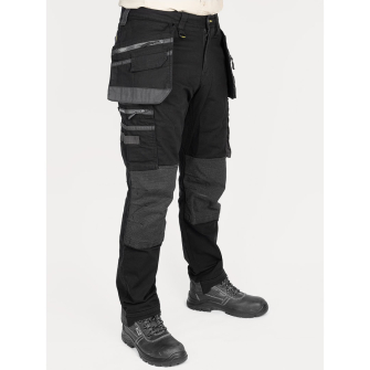 Bisley Workwear Flex & Move Stretch Utility Cargo Trousers with Tools Holster Pockets - Black