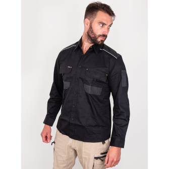 Bisley Workwear Flex & Move Long Sleeve Mechanical Stretch Shirt - Black