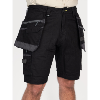 Bisley Workwear Flex & Move Stretch Utility Cargo Short With Holster Tool Pockets - Black