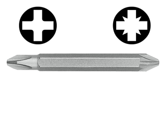 Witte Double Ended Screwdriver Bit Pozi / Phillips (Card of 3) -